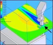 Simulación de la interacción del viento con el mastil del rover. Los diferentes colores representan diferentes velocidades y por lo tanto se puede estimar el nivel de perturbación de la corriente incidente.