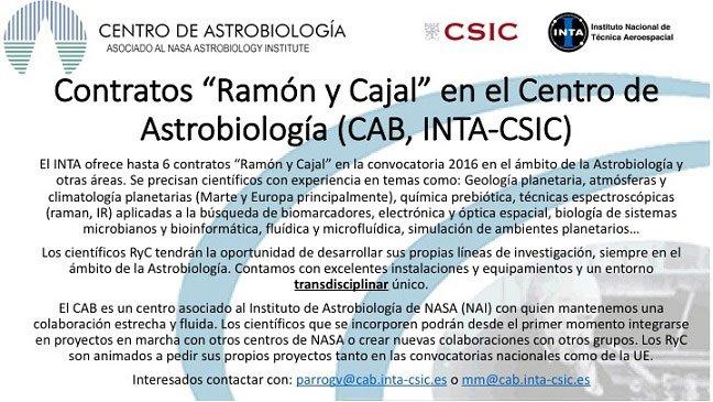 Oferta de contratos Ramón y Cajal en el Centro de Astrobiología