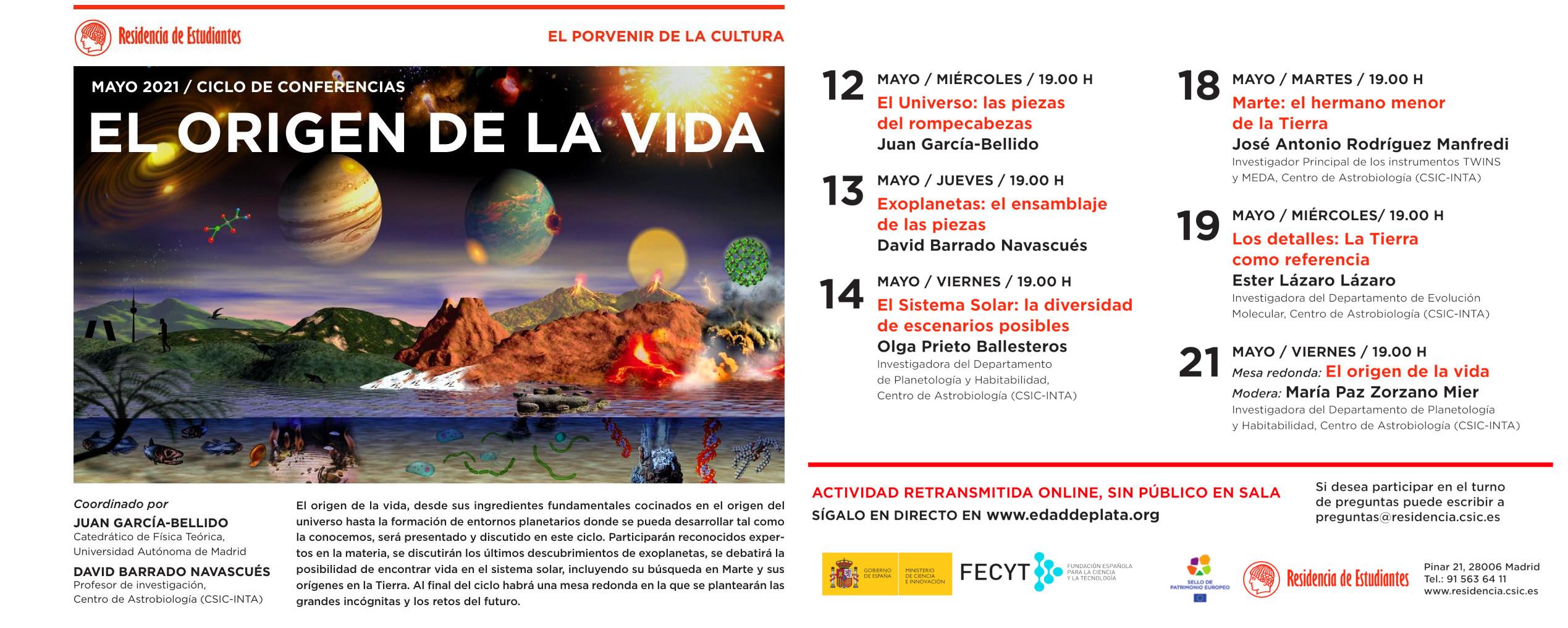 Difusión Ciclo de Conferencias El Origen de la Vida_Residencia de Estudiantes 26 marzo 21